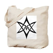 Black Curved Unicursal Hexagram Tote Bag