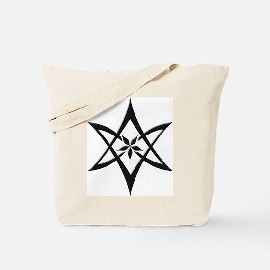 Black Curved Unicursal Hexagram Tote Bag