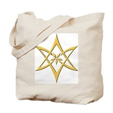 Gold Curved Unicursal Hexagram Tote Bag