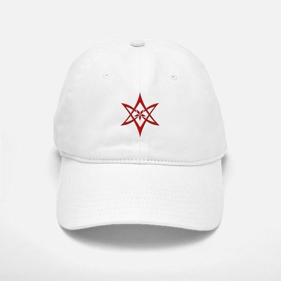 Red Curved Unicursal Hexagram Baseball Baseball Cap