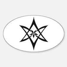 Black Curved Unicursal Hexagram Oval Decal