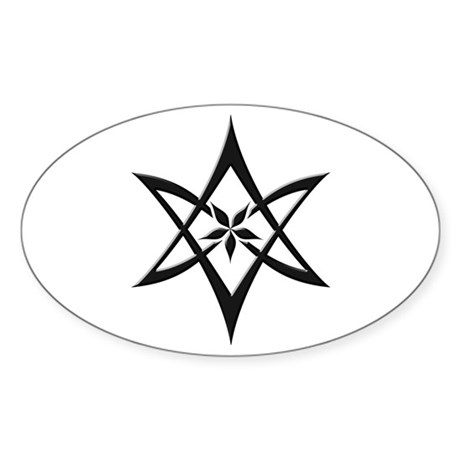 Black Curved Unicursal Hexagram Oval Sticker