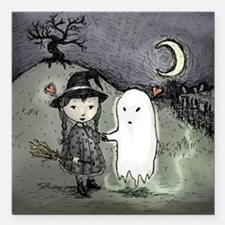 """Witch Loves Ghost Square Car Magnet 3"""" x 3"""""""