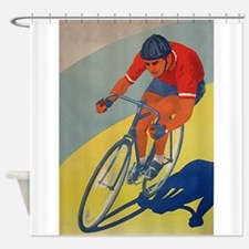 Cycling, Bicycle, Racer, Vintage Poster Shower Cur