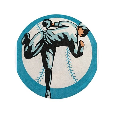 "Baseball, Player, Vintage Poster 3.5"" Button"