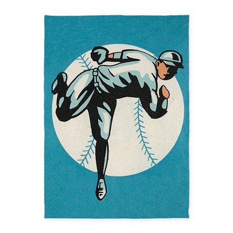 Baseball Player Vintage Poster 5 X7 Area Rug By