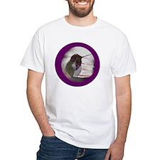 Hummingbird on Window Seal on Pur Shirt