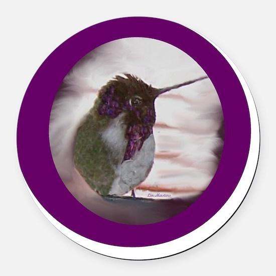 Hummingbird on Window Seal on Pur Round Car Magnet