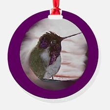 Hummingbird on Window Seal on Purpl Ornament