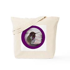 Hummingbird on Window Seal on Purple Tote Bag