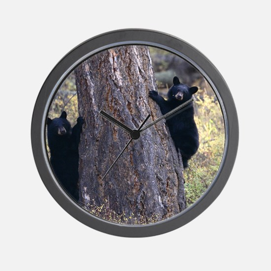 black bear cubs Wall Clock