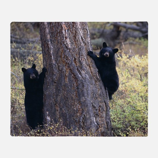 black bear cubs Throw Blanket