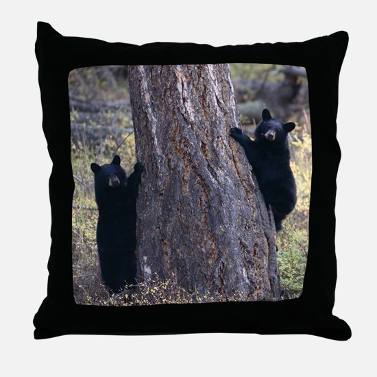 black bear cubs Throw Pillow