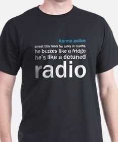 OK Computer Karma Police words blue and white T-Sh
