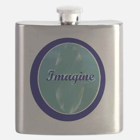 Imagine on soft and dark blue Flask