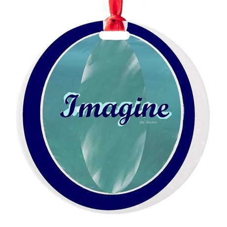 Imagine on soft and dark blue Round Ornament