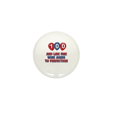 100th birthday designs Mini Button (10 pack)