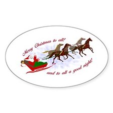 Horsey Christmas Oval Decal