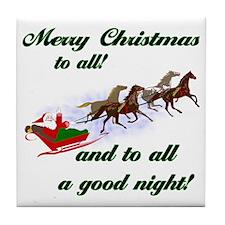 Horsey Christmas Tile Coaster