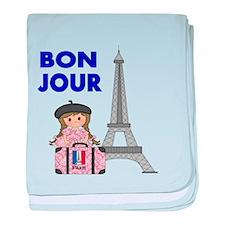 BON JOUR WITH LITTLE GIRL IN PARIS baby blanket