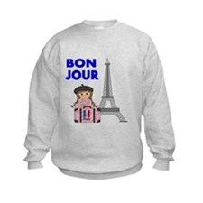BON JOUR WITH LITTLE GIRL IN PARIS Sweatshirt