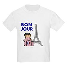 BON JOUR WITH LITTLE GIRL IN PARIS T-Shirt