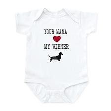 Mama Loves Wiener Dachshund Infant Bodysuit