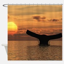 Whale Tail in the Sunset Shower Curtain