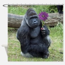 Gorilla with Purple Flower Shower Curtain