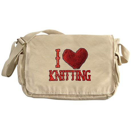 I Heart (Love) Knitting Messenger Bag