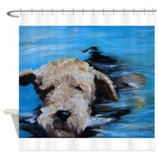 SWIMMING airedale Shower Curtain