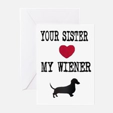 Sister Loves Wiener Dachshund Greeting Cards (Pack