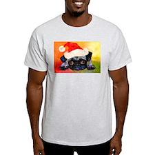 Christmas Pug 1 Ash Grey T-Shirt
