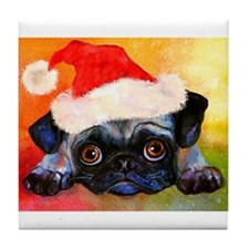 Christmas Pug 1  Tile Coaster