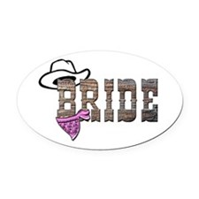 Cowgirl Bride Oval Car Magnet