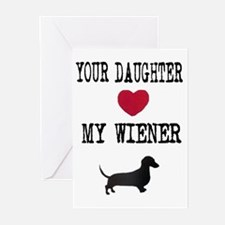 Daughter Loves Wiener Dachshund Greeting Cards (Pa
