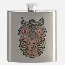 Sugar Skull Owl Color Flask