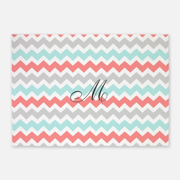 Coral Aqua Grey Chevron Monogram 5'x7'Area Rug
