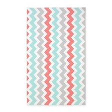 Coral Aqua Grey Chevron Pattern 3'x5' Area Rug