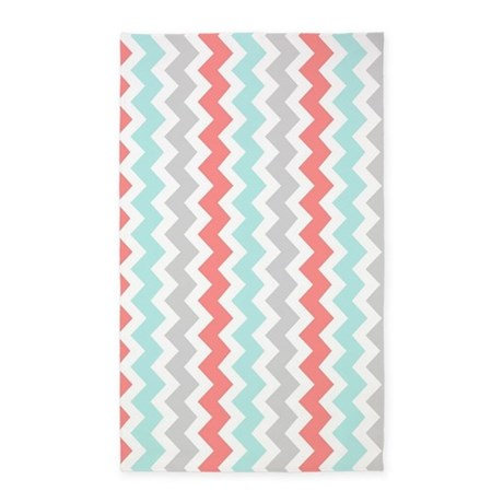 Coral Aqua Grey Chevron Pattern 3u0027x5u0027 Area Rug