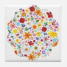 Spring Flowers Pattern Tile Coaster