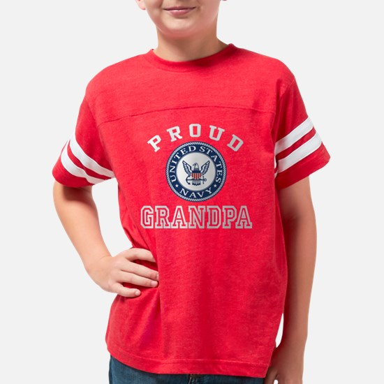 Proud US Navy Grandpa Youth Football Shirt