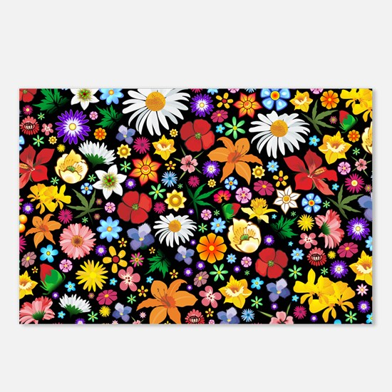Spring Flowers Pattern Postcards (Package of 8)