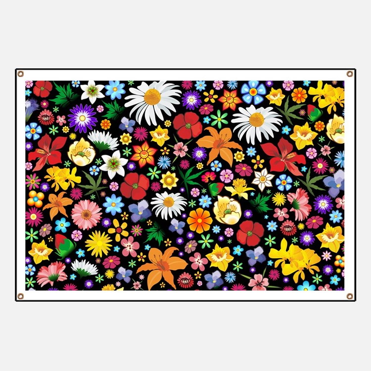 Spring Flowers Pattern Banner
