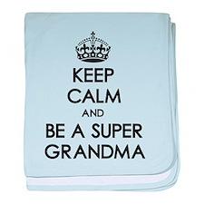 Keep Calm Super Grandma baby blanket