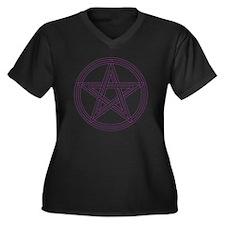 Purple Penta Women's Plus Size Dark V-Neck T-Shirt