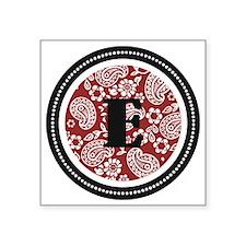 "Red Paisley Monogram-E Square Sticker 3"" x 3"""