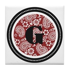 Red Paisley Monogram-G Tile Coaster