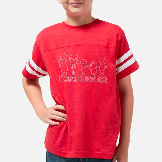 Bob's Burgers Family Outline  Youth Football Shirt