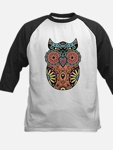 Sugar Skull Owl Color Kids Baseball Jersey